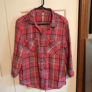 Seven7 pink 3/4 sleeve flannel
